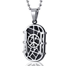 Modern Art Crisscross Stainless Steel Peace Sign Dog Tag Pendant