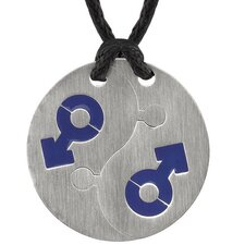 Puzzle Style Surgical Stainless Steel Blue Male Mars Puzzle High Polished Circular Pendant on a Black Cord