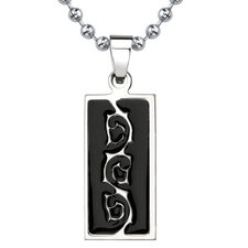 Natural Beauty Titanium & Black Enamel Tribal-style Tattoo Pattern Dog Tag Pendant on a Stainless Steel Ball Chain
