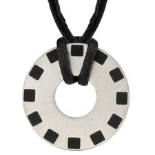 Renewed Passion Designer Inspired Titanium Brushed Finish Rubber-inlay Disc Pendant for Men on a Black Cord