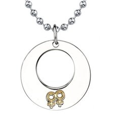 Touch of Elegance Surgical Stainless Steel Gunmetal Circle Pendant with Double Female Insignias on a Steel Ball Chain