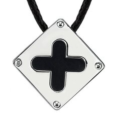 Added Elegance Surgical Steel Brushed-finish with Black Enamel Plus Sign Square Pendant on a Black Cord