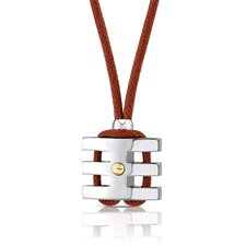 Handsome and Strong Stainless Steel Coiled-style Gold-plated Rivet Pendant on a Red Wax Cord for Men