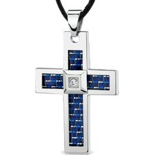 Stainless Steel Large Cross Pendant with Blue-White Carbon Fiber Inlay on Adjustable Black Cord