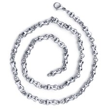 Youthful and Unique Mens Stainless Steel Dumbbell Link 22 inch Chain Necklace