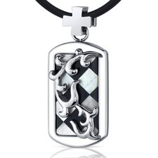 Dramatic Delight Unisex Stainless Steel Mother of Pearl and Onyx Dog Tag Pendant Necklace