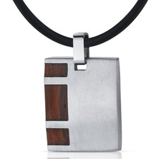 Suave and Macho Stainless Steel with Rosewood finish Square Pendant Necklace for Men