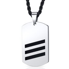 Cosmopolitan Chic Unisex Stainless Steel Dog Tag Pendant Necklace with Black Steel Inlay