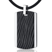 Rugged Impression Stainless Steel with Black Carving Dog Tag Pendant Necklace for Men