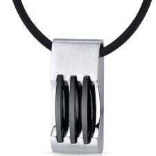 Mens Stainless Steel Pendant with Triple Stripe Black Accents on Black Cord Necklace