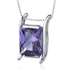 Striking Color 4.00 Carats Radiant Cut Alexandrite Pendant in Sterling Silver