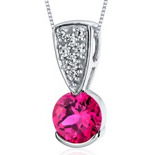 Striking Simplicity 1.75 Carats Round Cut Ruby Pendant in Sterling Silver