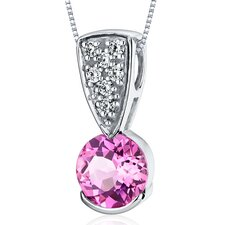 Striking Simplicity 1.75 Carats Round Cut Pink Sapphire Pendant in Sterling Silver
