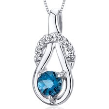 Elegant Glamour 0.50 Carats Round Cut London Blue Topaz Pendant in Sterling Silver