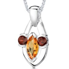 1.50ct Marquise Round Garnet Citrine Pendant in Sterling Silver