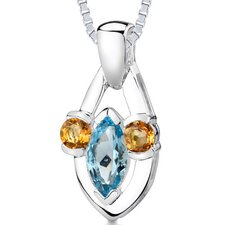 1.75 cts Marquise Topaz Round Citrine Pendant in Sterling Silver