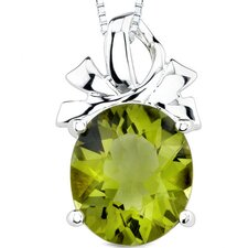 7.50 cts Oval Shape Olive Quartz Pendant in Sterling Silver