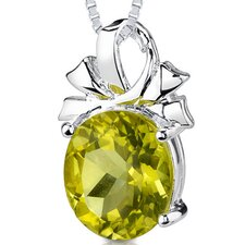 7.50 cts Oval Shape Lemon Quartz Pendant in Sterling Silver