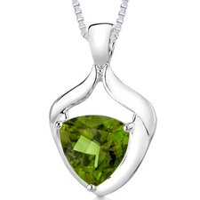 7.00 cts Trillion Cut Olive Quartz Pendant in Sterling Silver