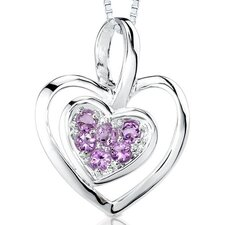 0.25ct Round Cut Amethyst Heart Pendant in Sterling Silver