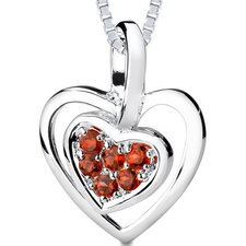 0.50ct Round Cut Garnet Heart Pendant in Sterling Silver