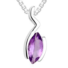 Marquise Cut Amethyst Pendant Necklace in Sterling Silver