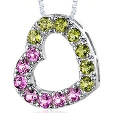 2.00 Carats Total Weight Round Shape Pink Sapphire and Peridot Open Heart Pendant Necklace in Sterling Silver