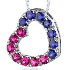 2.00 Carats Total Weight Round Shape Ruby and Blue Sapphire Open Heart Pendant Necklace in Sterling Silver