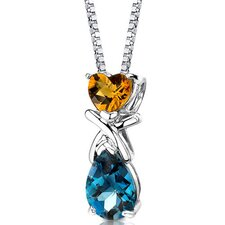 Irresistible Allure 3.00 Carats Multishape Citrine and London Blue Topaz Pendant in Sterling Silver