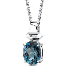 <strong>Oravo</strong> Exquisite Glamour 3.00 Carats Oval Shape London Blue Topaz Pendant in Sterling Silver