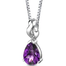Mysterious Allure 1.50 Carats Pear Shape Checkerboard Cut Amethyst Pendant in Sterling Silver