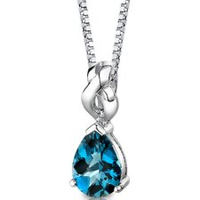 Mysterious Allure 2.25 Carats Pear Shape London Blue Topaz Pendant in Sterling Silver