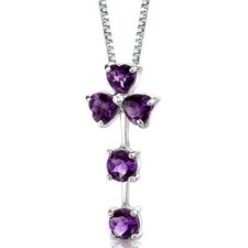 Floral Passion 2.25 Carats Multishape Checkerboard Cut Amethyst Pendant in Sterling Silver