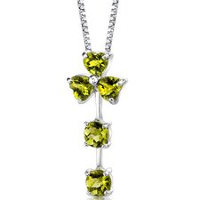 Floral Passion 2.75 Carats Multishape Checkerboard Cut Peridot Pendant in Sterling Silver