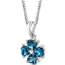 Irresistible Desire 2.00 Carats Heart Shape London Blue Topaz Pendant in Sterling Silver