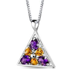 Perfect Destiny 1.75 Carats Multishape Amethyst and Citrine Pendant in Sterling Silver