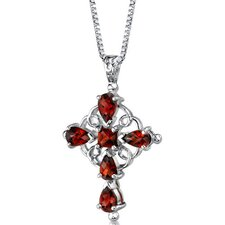 Vintage Delight 3.00 Carats Multishape Garnet Cross Pendant in Sterling Silver