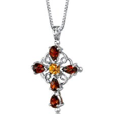 Vintage Delight 3.00 Carats Multishape Garnet and Citrine Cross Pendant in Sterling Silver