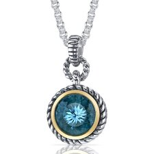 Portuguese Cut 4.50 Carats Swiss Blue Topaz Twisted Cable Pendant in Sterling Silver