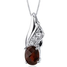 <strong>Oravo</strong> Graceful Angel 1.50 Carats Oval Shape Garnet Pendant in Sterling Silver