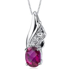 Graceful Angel 1.75 Carats Oval Shape Ruby Pendant in Sterling Silver