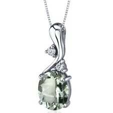 Illuminating Sophistication 2.25 Carats Oval Shape Green Amethyst Pendant in Sterling Silver