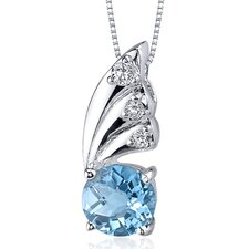 Sublime Elegance 1.50 Carats Round Shape Swiss Blue Topaz Pendant in Sterling Silver
