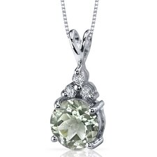 Refined Class 1.75 Carats Round Shape Green Amethyst Pendant in Sterling Silver
