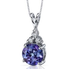 Refined Class 2.50 Carats Round Shape Alexandrite Pendant in Sterling Silver
