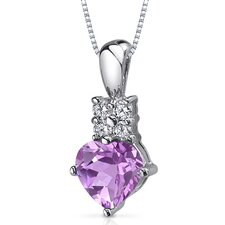 Captivating Love 1.50 Carats Heart Shape Pink Sapphire Pendant in Sterling Silver