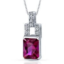 Exquisite Brilliance 2.00 Carats Radiant Shape Ruby Pendant in Sterling Silver