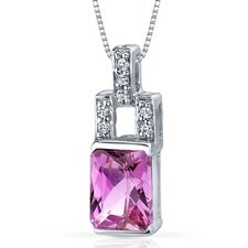 Exquisite Brilliance 2.00 Carats Radiant Shape Pink Sapphire Pendant in Sterling Silver
