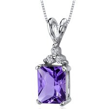 Dynamic Seduction 2.00 Carats Radiant Shape Amethyst Pendant in Sterling Silver
