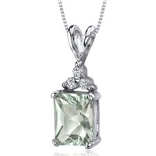 Dynamic Seduction 2.00 Carats Radiant Shape Green Amethyst Pendant in Sterling Silver